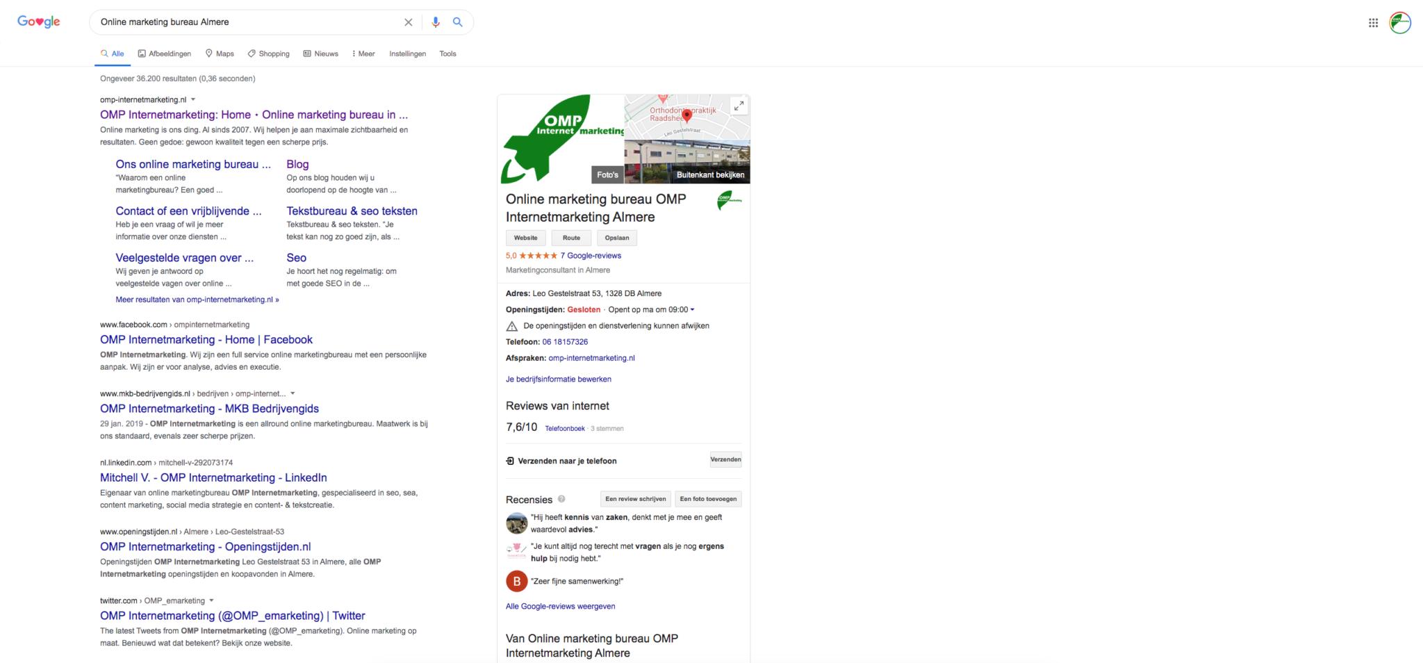 Resultaat van Google Posts